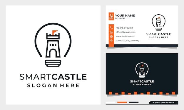 Bombilla con diseño de logotipo de castillo de arte lineal, castillo inteligente con plantilla de tarjeta de visita