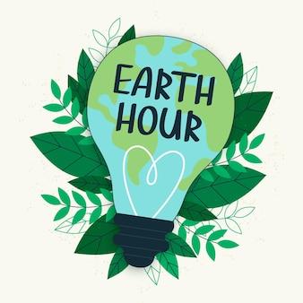 Bombilla ecológica de la hora del planeta dibujada a mano