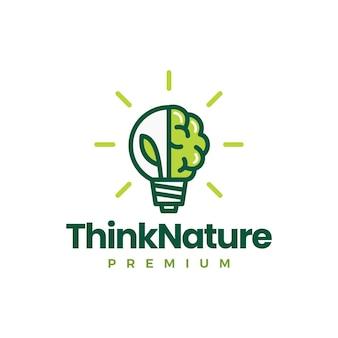 Bombilla de hoja de cerebro piensa en plantilla de logotipo de idea de naturaleza