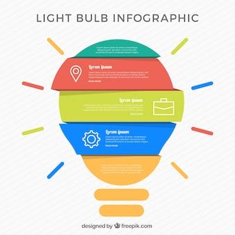 Bombilla de infografía con elementos