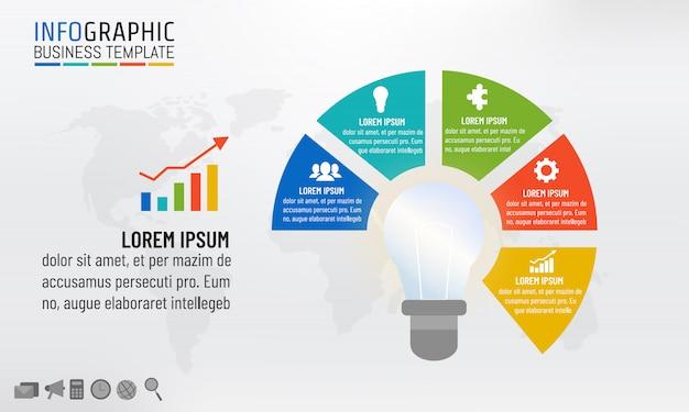 Bombilla infografía plantilla para conceptos de idea de negocio