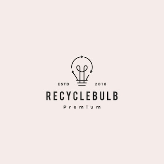 Bombilla lámpara icono de vector de logo de reciclaje de energía