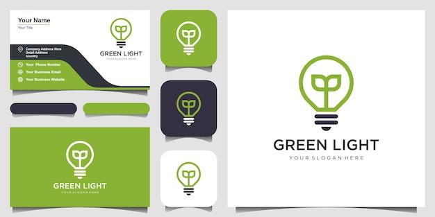 Bombilla lámpara naturaleza hoja logo y tarjeta de visita.