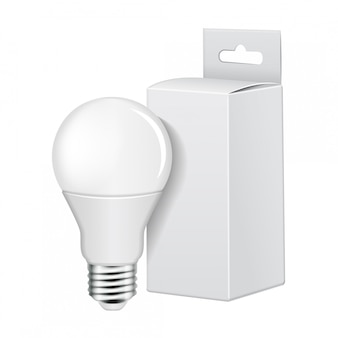Bombilla led eléctrica con embalaje de cartón blanco