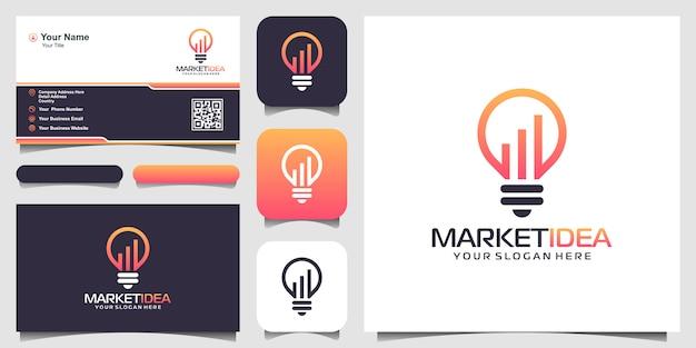 Bombilla con logotipo de estadísticas y tarjeta de visita.