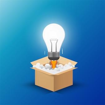 Bombilla de luz de la caja de apertura.