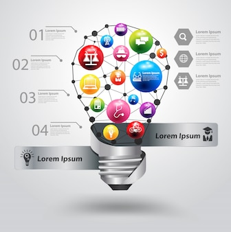 Bombilla de luz creativa con el concepto de idea de educación icono
