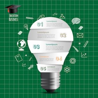 Bombilla luz creativa y educación infografía.