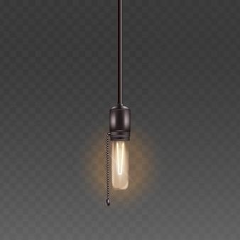 Bombilla de luz eléctrica o lámpara de vidrio en el cable con ilustración realista de estilo retro de cadena