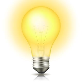 Bombilla de luz encendida realista aislada