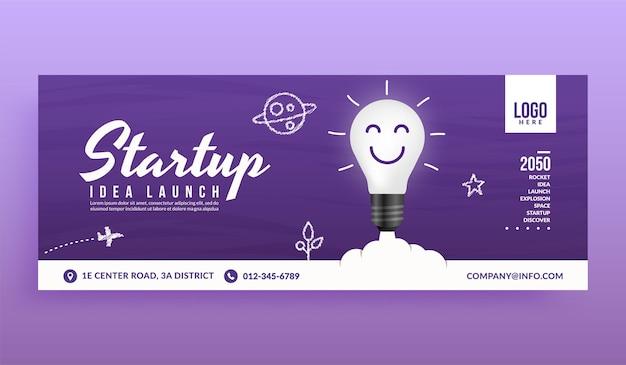 Bombilla de luz lanzada a la plantilla de banner de portada de redes sociales espaciales, idea creativa para el inicio de negocios