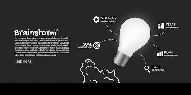 Bombilla de luz de lanzamiento al espacio sobre fondo oscuro, concepto de inicio de negocio