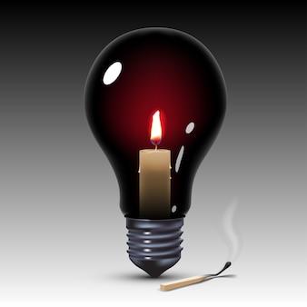 Bombilla de luz negra con vela en el interior