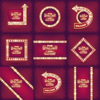 Bombilla de luz retro vector discurso burbuja banner.