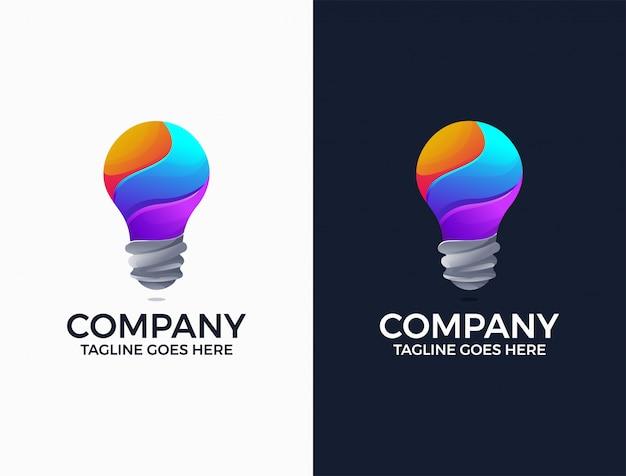 Bombilla multicolor degradado idea imaginación plantilla de diseño de logotipo