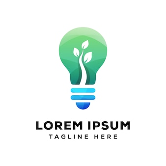 Bombilla natural, logotipo de bombilla verde premium