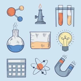 Bombilla y objetos de laboratorio de ciencias