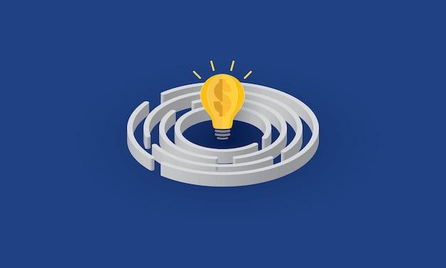 Bombilla con signo de dólar dentro de negocio de inspiración de concepto de laberinto circular