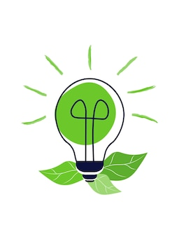 Bombilla verde con hojas concepto de energía verde