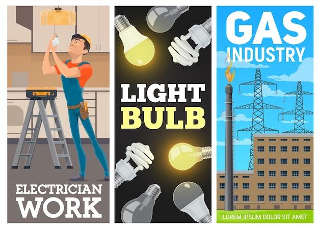 Bombillas eléctricas y pancartas de la industria del gas.