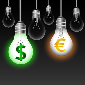 Bombillas de euro, dólar $ sobre un fondo negro. ilustración vectorial