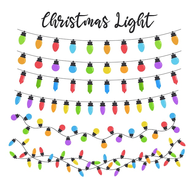 Bombillas de luz navideña. bombillas de colores para decoración navideña. aislado sobre fondo blanco.