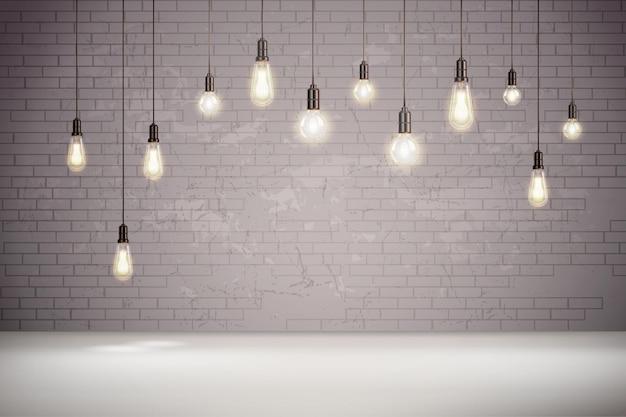 Bombillas de luz vintage realistas en la ilustración de pared de ladrillo