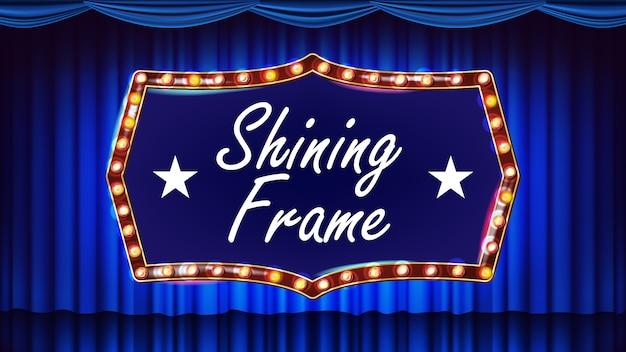Bombillas de marco de oro sobre fondo. fondo azul. cortina de teatro. textil de seda. brillante bandera de luz retro. ilustración retro realista