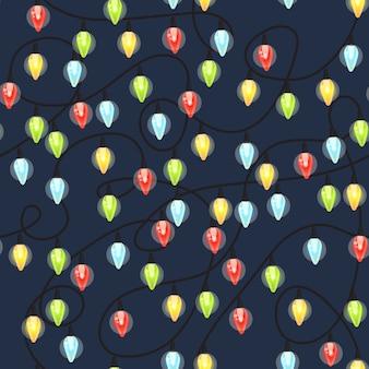 Bombillas de navidad de patrones sin fisuras, guirnalda colorida de navidad