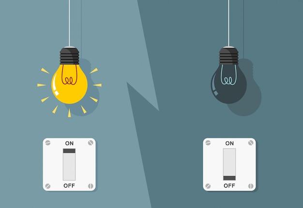 Bombillas planas encendidas y apagadas con interruptores de luz encendidos
