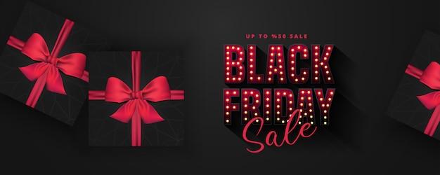 Las bombillas retro firman plantilla de diseño de banner de venta de viernes negro. banner y cartel publicitario. ilustración caja de regalo negra realista. ilustración