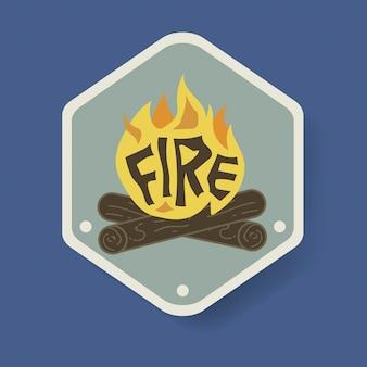 Bonfire badge camping ilustración gráfica vectorial