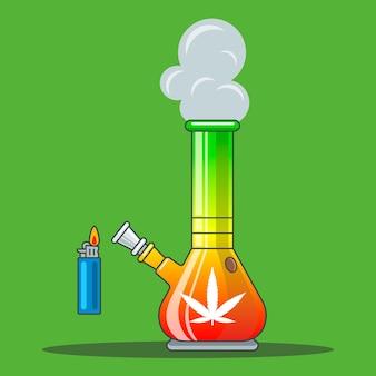 Bong arcoíris para fumar marihuana. ilustración vectorial plana.