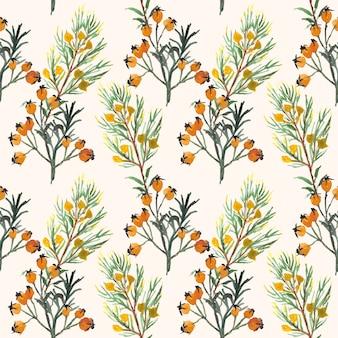 Bonita acuarela floral de patrones sin fisuras