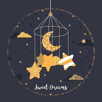 Bonita bola con estrellas, luna, nubes, constelaciones.