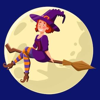 Una bonita bruja de pelo rojo y rizado, volando de noche en una escoba. chica divertida en el fondo de la luna. ilustración de vector de halloween en un estilo de dibujos animados.