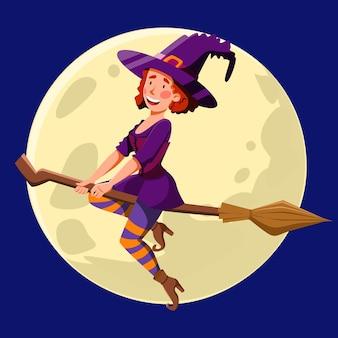 Una bonita bruja de pelo rojo y rizado, volando de noche en una escoba.