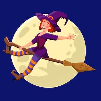 Una bonita bruja volando por la noche en una escoba chica divertida en el fondo de la luna