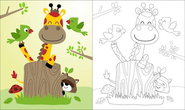 Bonita caricatura jirafa y amigos, mapache, pájaros.