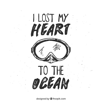 Bonita cita de submarinismo dibujada a mano