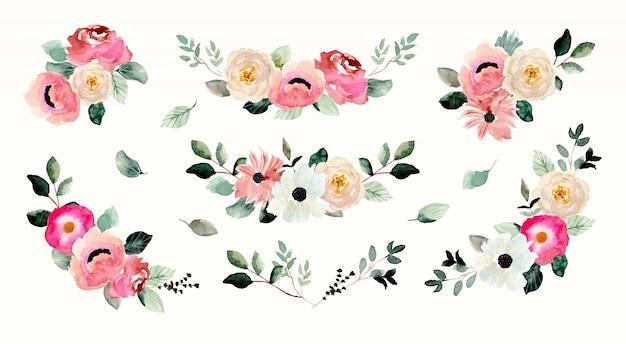 Bonita colección de acuarela de arreglos florales