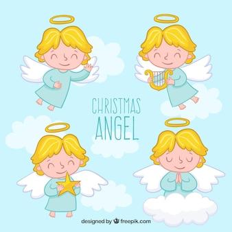 Bonita colección de ángeles de navidad