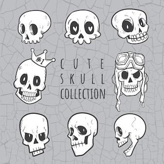 Bonita colección de calavera doodle