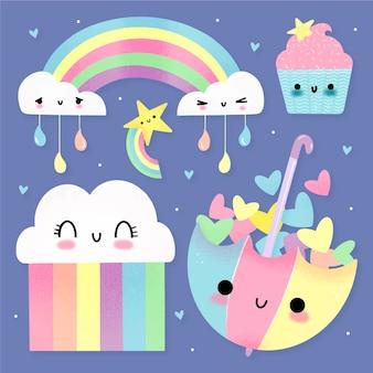 Bonita colección de elementos de decoración chuva de amor.