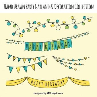 Bonita colección de guirnaldas de cumpleaños dibujadas a mano