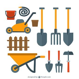 Bonita colección de herramientas de jardinería