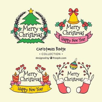 Bonita colección de insignias de navidad dibujadas a mano