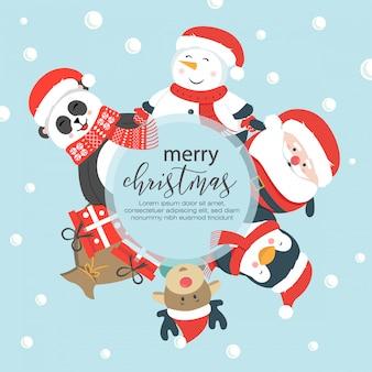 Bonita colección de personajes navideños con diseño plano.
