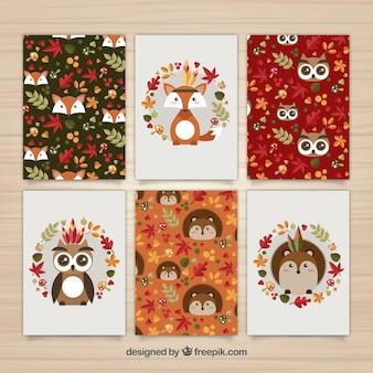 Bonita colección de tarjetas otoñales con animales del bosque