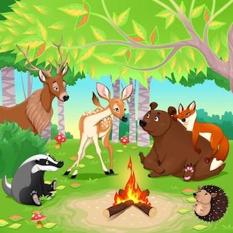 Bonita escena con animales en un bosque